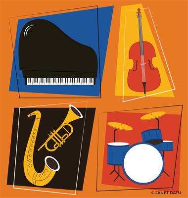 Piano, Cello, Saxophone, Trumpet, Drums, Jazz Instruments Set